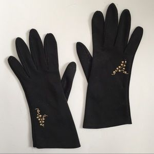 Vintage 1950s Black Cotton Blend Gloves Embroidery